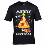 Premium Funny PIZZA Merry Crustmas Christmas Tree Motif Novelty Xmas gift Men's Black T-shirt Top